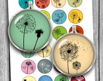 "Dandelion Silhouettes 20mm 25mm 1"" 30mm 1.5"" Printable Digital Collage Sheet Instant Download"