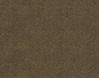 Maywood Woolies Dark Brown Herringbone MASF-1841-J Flannel Fabric BTY 1 Yd