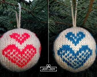 Hand Knitted Christmas Bauble HEARTS
