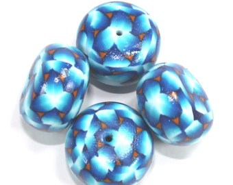4 Unique blue white flower jewelry resin gumball beads, handmade polymer clay metallic turquoise jewelry making craft supplies round beads