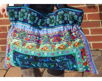 Large Hand-Made Embroidered Drawstring Tote Bag for Knitting or Travel - Aqua
