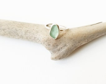 SALE - Seafoam Sea Glass Sterling Ring, Size 4.5