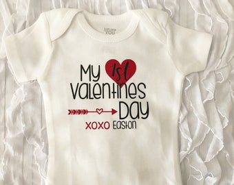 First Valentines Day. Baby First Valentines Day. Valentines Day Bodysuit. Valentines Day Outfit. Baby Girl. Baby Boy. baby name outfit.