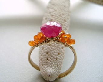 Ruby Wire Ring, Adjustable Ruby Gemstone Ring, Wire Wrapped Ruby Carnelian Ring, July Birthstone, Hot Pink Orange Ring