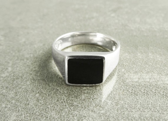 Onyx Signet Ring, Sterling Silver Ring, Men Signet Ring, Man Cushion Square ring, Mens Ring, Popular Signet Ring, Black Stone Ring, Woman