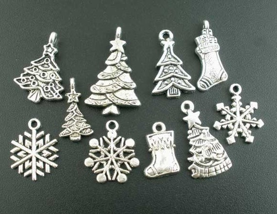 40 christmas charms antique silver assorted christmas pendants 40 christmas charms antique silver assorted christmas pendants 2718 301a from vickysjewelrysupply on etsy studio aloadofball Image collections