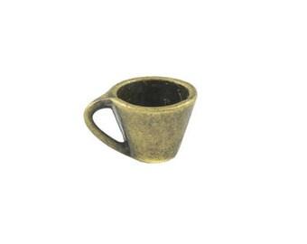 10 x 6mm Bronze Cup Metal Charm - 4 charms