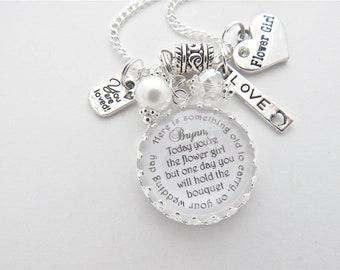 FLOWER GIRL Necklace, Flower Girl Gift, Flower Girl Jewelry, Will you be my flower flower girl, Flower Girl Proposal, Bridal Accessories