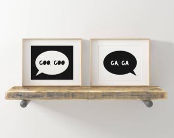 Nursery Art, Baby Printables, Babies Wall Art, Kids Room Art, Nursery Prints, Kids Wall Art, Baby's Room Art, Goo Goo Ga Ga Baby Talk Art