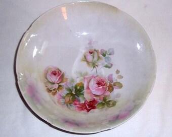 Vintage Leuchtenburg Made in Germany Porcelain Bowl with Pink Roses Motif and Lustreware Decoration