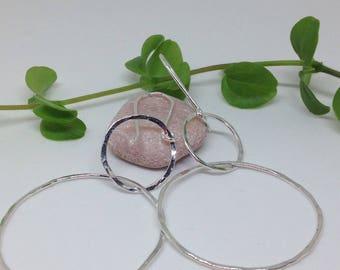 Large hoop earrings. Silver hoops. Hammered silver hoops. Statement earrings .