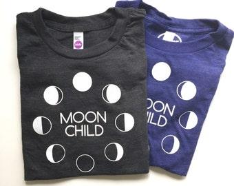 MOON CHILD - Kids Tee - Toddler Tee - Moon Phases - Luna Shirt  - Modern Kids - Full Moon - Moon Cycle
