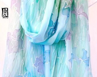 Japanese Silk Scarf, Hand painted Silk Scarf, Iris, Kimono Silk Shawl, Blue Shawl, Blue Scarf, Wrap Shawl, Morning Dew Iris, Made to order