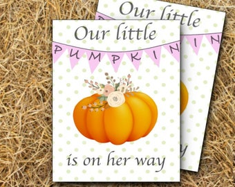 Baby Girl Announcement - Rustic pumpkin patch invitation DIGITAL or PHYSICAL copy