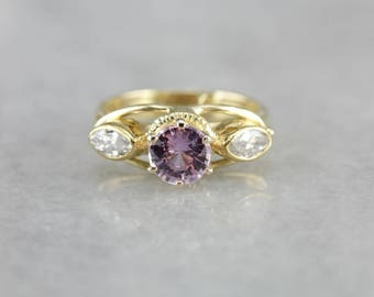 Pink Sapphire Ring, Sapphire and Diamond Ring, Modern Sapphire Ring, Anniversary Gift 926WHMXU-N