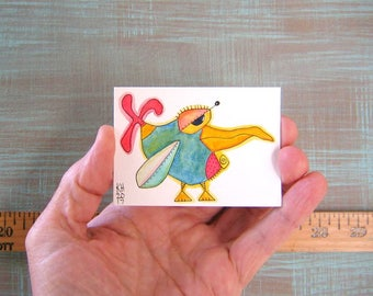 Bird-J73, Original ACEO Watercolor, Art Card, Miniature Painting, by Fig Jam Studio