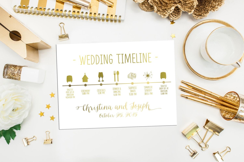 Wedding Timeline Printable Custom Wedding Schedule Of Events