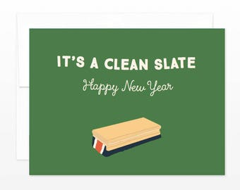 It's a Clean Slate - Happy New Year Card - Funny New Year Card - Chalkboard Eraser - Card for Teachers, Retro School Card, Divorce Card