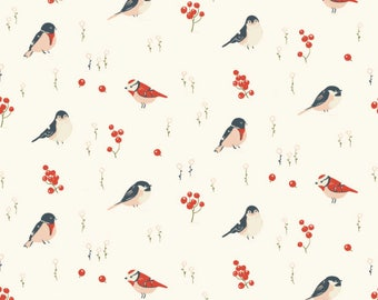 Love Birds Poplin - Organic cotton- from Little by Jenny Ronen for Birch Fabrics