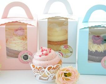 White Pink Blue cupcake box