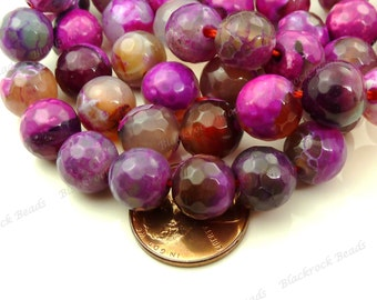 10mm Dragon Vein Agate Faceted Gemstone Beads - 19pcs - Round, Pink, Purple, Gray - BA30