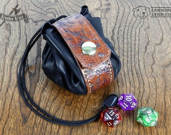 Leather Dice Bag - Distressed / Weathered - Handmade OOAK Pouch