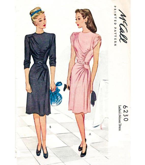 1940er Jahre Kleid Vintage Schnittmuster Reproduktion / /