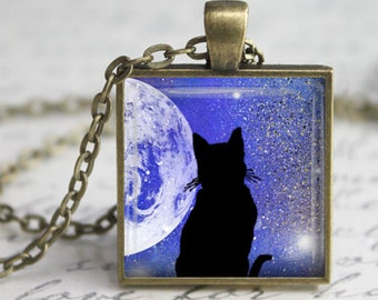Space Cat Square Pendant, Necklace or Key Chain - Choice of 4 Bezel Colors