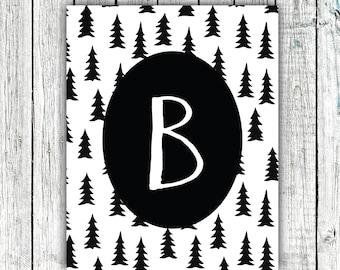Nursery Art Monogram, Black and White, Modern, Trees, Baby Boy, Personalized, Digital Download Size 8x10 #8