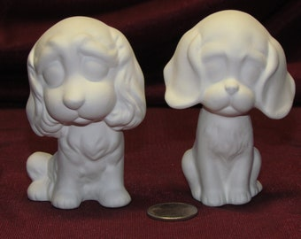 Ceramic Bisque U-Paint 2 Cute Puppy Dogs Ready to Paint DIY Unpainted Canine Big Eye Eyed Dog
