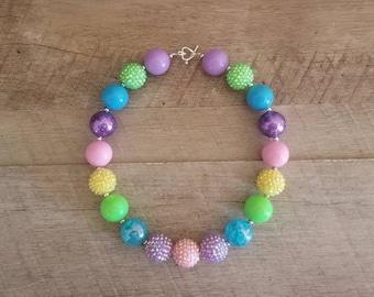 Lollipop Chunky Necklace, Unicorn Chunky Necklace, Baby Necklace, Bubblegum Bead Necklace, Lollipop Birthday, Cake Smash Necklace, Rainbow