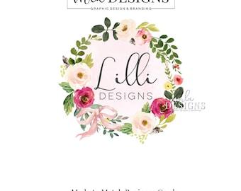 Floral Wreath Logo - Wreath Watercolor Logo, Rustic Boutique Logo, Custom Logo, Boutique Floral Logo, Premade Logo, Custom Logo, Boho Logo