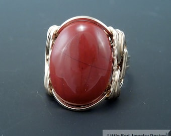 14 k Gold Filled Red Jasper Cabochon Wire Wrapped Ring