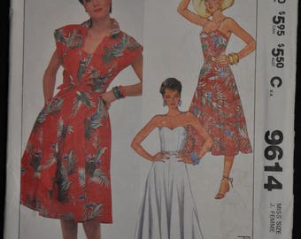 Misses' Sundress, Spaghetti Straps & Cover-Up Pattern - Size 8 - UNCUT - McCall's 9164