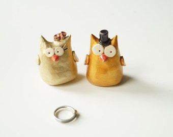 Gold Cake Topper, Owl Cake Topper, Ceramic Owl, Ceramic Cake Topper by Her Moments