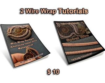 2 Wire Wrap Tutorials:  Ammonite fossil slice Madagascar. +  Spiral.