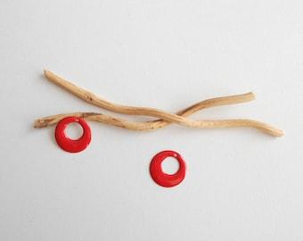 X 2 red round sequins 17 mm