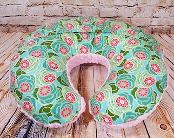 Boppy Cover Amy Butler Dream Weaver Water Lilies Pink Minky Easy On/Off