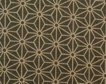 Japanese Asanoha fabric - Sevenberry - pattern Asanoha traditional green gray background - 50 cm (110 x)