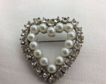 Heart Brooch, 1950s, Sweetheart, Vintage Heart Jewelry, Faux Pearls
