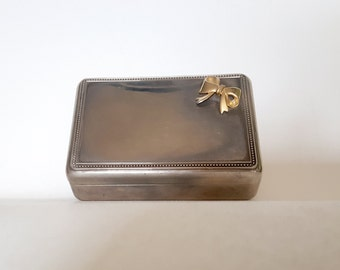 Vintage Jewelry Box | Silver and Gold Trinket Box with Bow and Blue Velvet Interior | Rerto Classic Jewelry Storage | Glam Vanity
