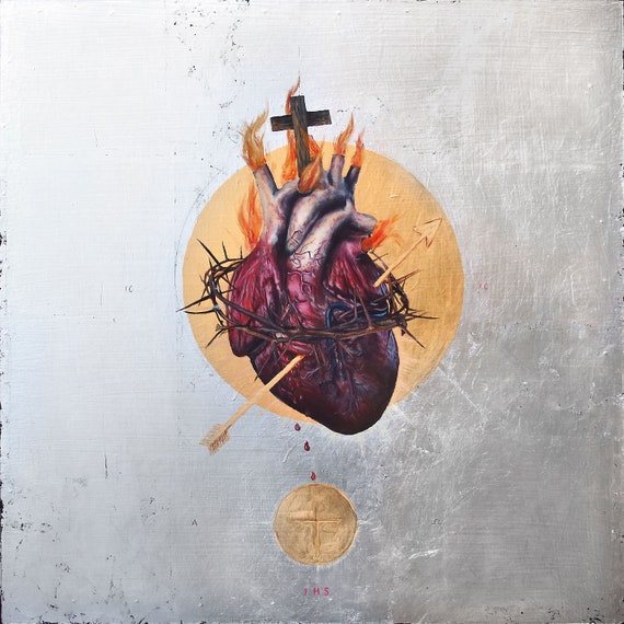 The Sacred Heart of Jesus -metallic print