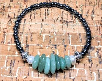 Aventurine Stone Bracelet -- Stretchy Adjustable Bracelets with Aventurine Gemstones, Plastic Beads, Freshwater Pearl and Silver Spacers