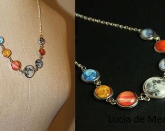 Solar System Necklace -  Planet Jewelry - Astronomy, Space, Universe, Planetary Jewelry