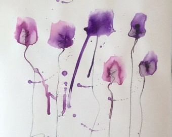 original 30x40 cm modern abstract watercolor poppies painting art drawing artwork