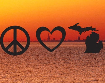 Peace, Love, Michigan Decal