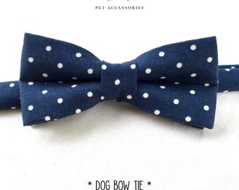 dog & cat bow tie – blue polka dots