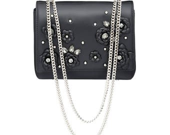 Black Leather Bag w/ Silver Chain, Swarovski Crystals, Handmade Leather flowers Black shoulder bag crossbody chainbag BLACK CAMELLIA midi
