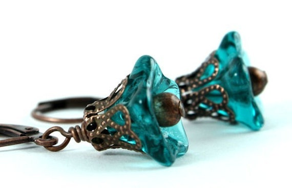 Teal trumpet bell flower and antique copper leverback earrings (138)