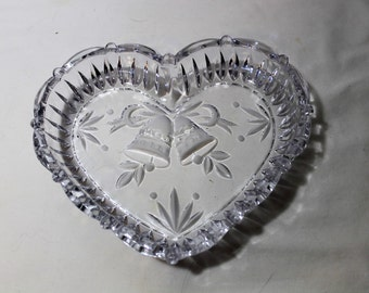 Heart Shaped Glass Wedding Bells Dish